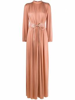 Elisabetta Franchi gathered gown with belt detail AB05206E2