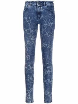 Just Cavalli джинсы с завышенной талией и принтом граффити S04LA0184N31856