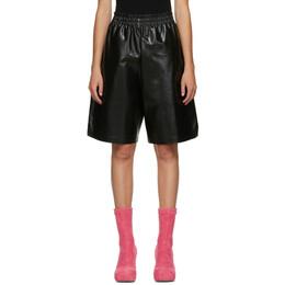 Bottega Veneta Black Leather Shiny Shorts 633445 VKLC0