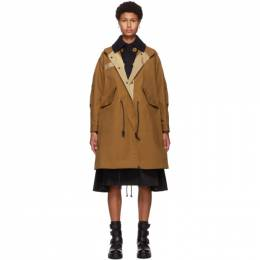 Sacai Brown Cotton and Nylon Oxford Coat 20-05134