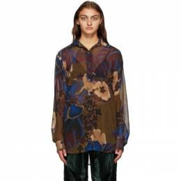 Dries Van Noten Brown and Multicolor Crepe Floral Shirt 1062 Carwy Bis