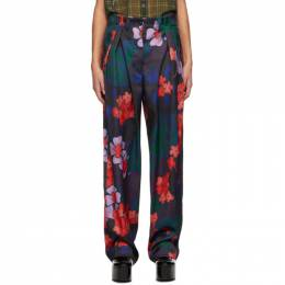 Dries Van Noten Purple and Red Floral Trousers 1090 Poska