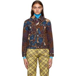 Dries Van Noten Purple and Brown Denim Floral Jacket 1074 Vegass