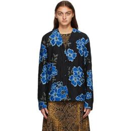 Dries Van Noten Black and Blue Floral Jacket 1513 Viner