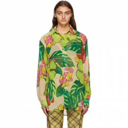 Dries Van Noten Pink and Multicolor Crepe Floral Shirt 1062 Carwy Bis