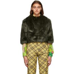 Dries Van Noten Khaki and Black Faux-Fur Cropped Jacket 1123 Valmont