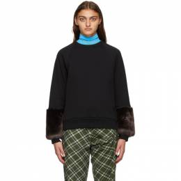 Dries Van Noten Black Faux-Fur Cuff Sweatshirt 1627 Hubiso Bis