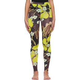 Dries Van Noten Yellow and Brown Floral Leggings 1615 Have Pr