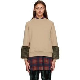 Dries Van Noten Beige Faux-Fur Cuff Sweatshirt 1624 Hubiso Bis