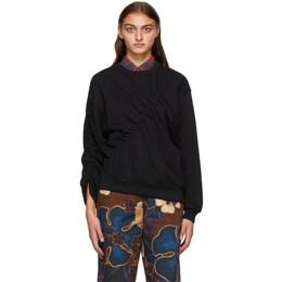 Dries Van Noten Black Ruched Sweatshirt 1620 Huston Pr