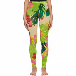 Dries Van Noten Green and Taupe Floral Leggings 1615 Have Pr