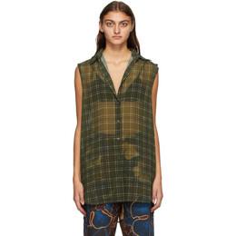 Dries Van Noten Khaki Crepe Check Sleeveless Shirt 1061 Callums