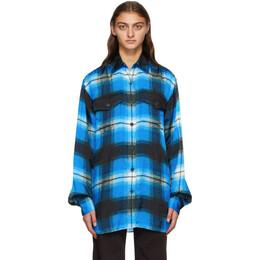Dries Van Noten Blue Viscose Plaid Shirt 1086 Carwy