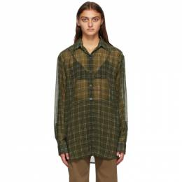 Dries Van Noten Khaki Crepe Check Shirt 1061 Carwy