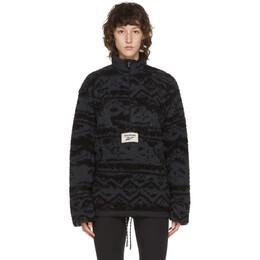 Reebok Classics Reversible Black and Grey Fleece Half-Zip Sweater FT7381