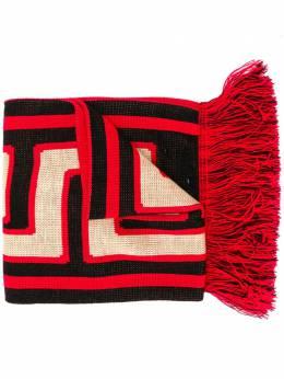 Aries fringed logo print scarf FRAR90008