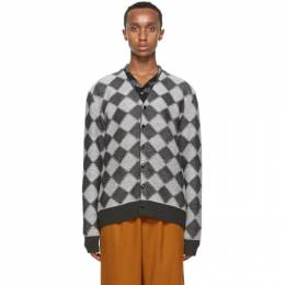 Needles Grey Wool Check Cardigan HM274