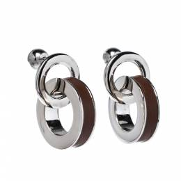 Burberry Leather Palladium Plated Double Grommet Earrings 328250