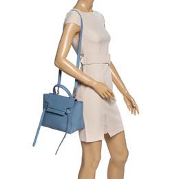 Celine Blue Leather Micro Belt Top Handle Bag 328248