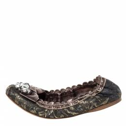 Miu Miu Metallic Black/Gold Brocade Fabric Crystal And Bow Embellished Scrunch Ballet Flats Size 38 328184