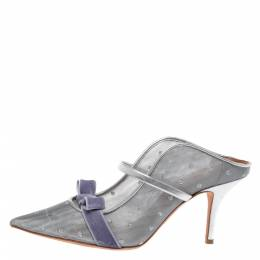 Malone Souliers By Roy Luwolt Silver Mesh And Velvet Marguerite Bow Mules Size 39 328382