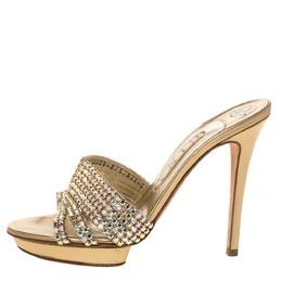 Gina Metallic Gold Crystal Embellished Leather Platform Sandals Size 38 328178