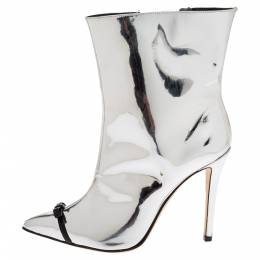 Marco De Vincenzo Silver Patent Leather And PVC Bow Pointed Toe Ankle Boots Size 38.5 329456