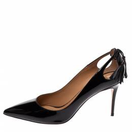 Aquazzura Black Patent Leather Forever Marilyn Cut Out Tassel Detail Pointed Toe Pumps Size 41 328556