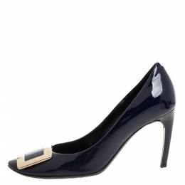 Roger Vivier Navy Blue Patent Leather Trompette Pumps Size 37 328555