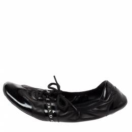 Prada Sport Black Patent and Leather Scrunch Lace Up Sneakers Size 39 328583