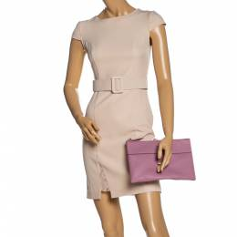 Kate Spade Lilac Grained Leather Mila Clutch 328137