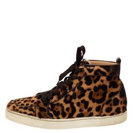 Christian Louboutin Brown Animal Print Calf Hair Orlato High Top Sneakers Size 43 328599