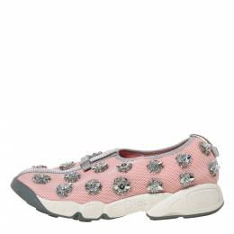 Dior Pink Floral Embellished Mesh Fusion Slip On Sneakers Size 37 328109