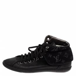 Louis Vuitton Black Leather and Monogram Shimmery Canvas Brea Sneaker Boots Size 38 328515