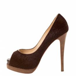 Christian Louboutin Brown Calf Hair Lady Peep Toe Platform Pumps Size 38 328881