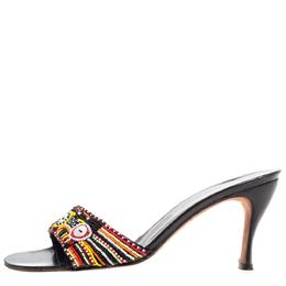Rene Caovilla Multicolor Pearl Beaded Open Toe Sandals Size 37 325217