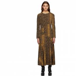 Dries Van Noten Black and Gold Wool Snake Dress 1080 Danony