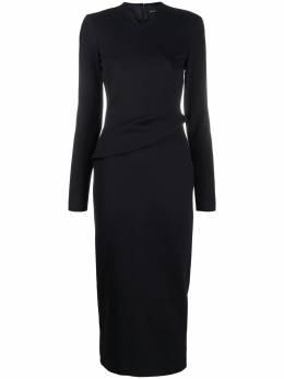 Emporio Armani приталенное платье миди с оборками 6H2A8A2JFAZ