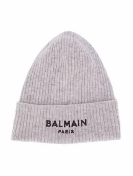Balmain Kids шапка бини в рубчик с логотипом 6N0687NE340