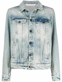Palm Angels OVER LOGO DENIM JACKET LIGHT BLUE WHITE PWYE011F20DEN0014001