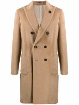 Lardini фактурное двубортное пальто IM23058A55626