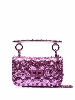 Valentino Garavani мини-сумка Rockstud Spike с блестками UW2B0G37LVR