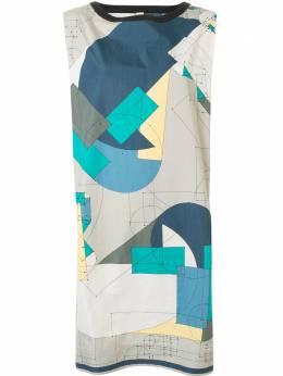 Hermes платье-рубашка с геометричным принтом WW7103HRMDRESS