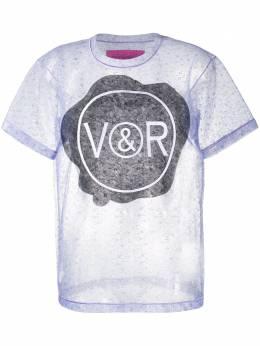 Viktor & Rolf кружевная футболка Sealed с логотипом 1ASLACELAVENDER