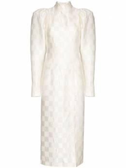 Rotate Theresa check midi dress 901478