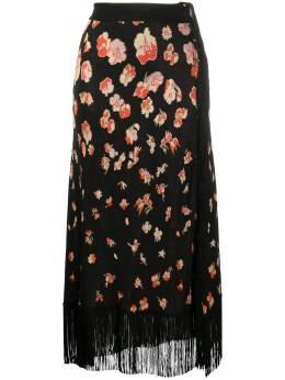 Paco Rabanne юбка с цветочным принтом и бахромой 20HMJU165ML0093