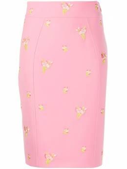 Moschino юбка с цветочной вышивкой J01275424