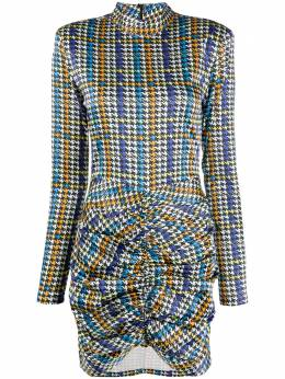 Rotate houndstooth ruched mini dress 901456
