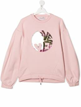 Alberta Ferretti Kids TEEN slogan print cotton sweatshirt 025383