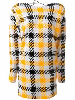 Rotate low-back checked shift dress 901475